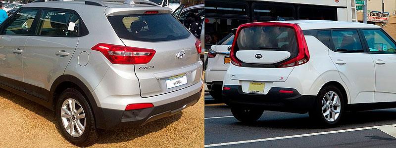 Hyundai Creta и Kia Soul: вид сзади.